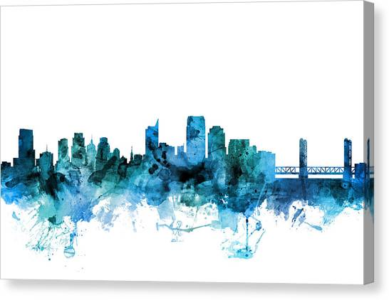 Sacramento State Canvas Print - Sacramento California Skyline by Michael Tompsett