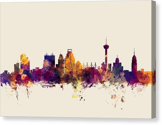 San Antonio Canvas Print - San Antonio Texas Skyline by Michael Tompsett