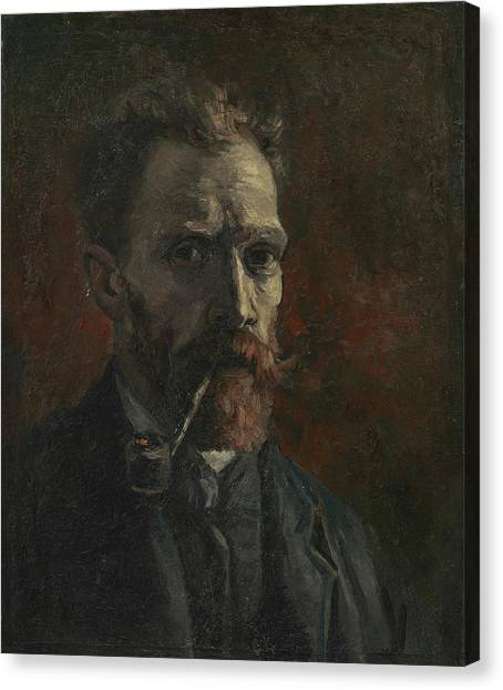 Post-modern Art Canvas Print - Self-portrait With Pipe by Vincent van Gogh