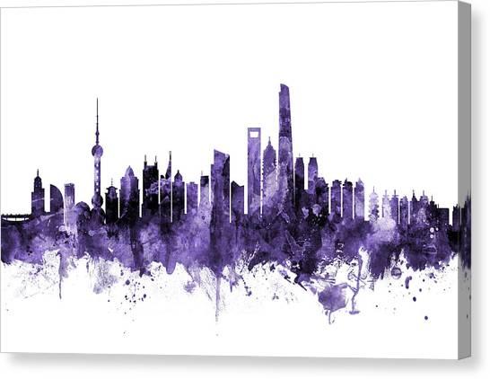 Shanghai Skyline Canvas Print - Shanghai China Skyline by Michael Tompsett