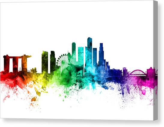 Singapore Skyline Canvas Print - Singapore Skyline by Michael Tompsett