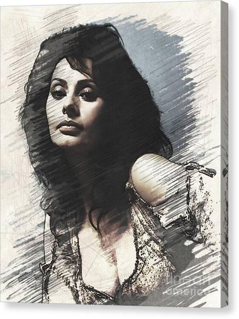 Stardom Canvas Print - Sophia Loren, Vintage Actress by John Springfield