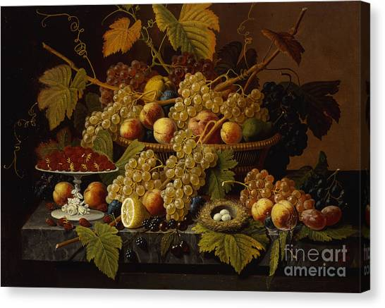 Fruit Baskets Canvas Print - Still Life With Fruit by Severin Roesen