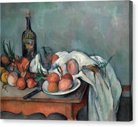 Onion Canvas Print - Still Life With Onions by Paul Cezanne
