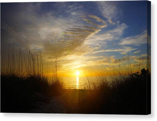 Sunset At Delnor Wiggins Pass State Park In Naples, Fl Canvas Print