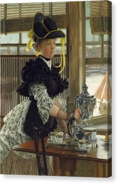 Tea Set Canvas Print - Tea by James Tissot