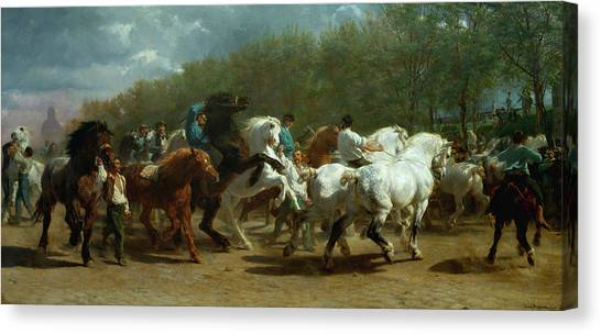 Draft Horses Canvas Print - The Horse Fair by Rosa Bonheur