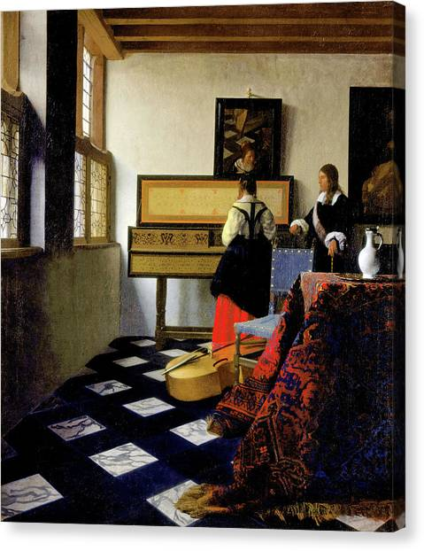 Music Genres Canvas Print - The Music Lesson by Johannes Vermeer