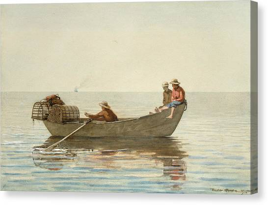 Winslow Canvas Print - Three Boys In A Dory With Lobster Pots by Winslow Homer