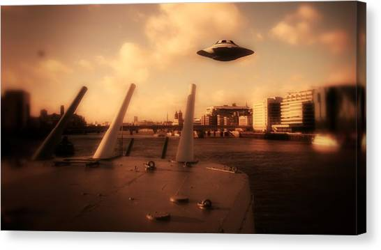 Saucer Canvas Print - Ufo Sighting by Raphael Terra