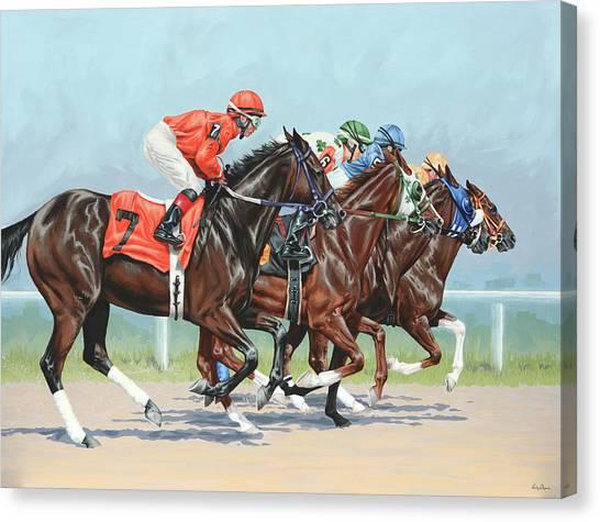 Race Horses Canvas Print - Untitled  by Lesley Alexander
