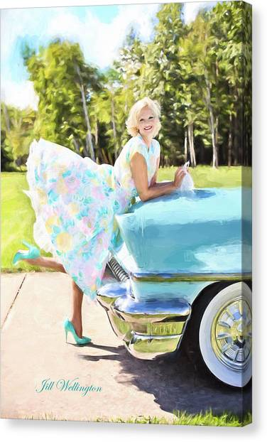 Vintage Val In The Turquoise Vintage Car Canvas Print