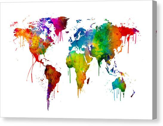 Bright Canvas Print - Watercolor Map Of The World Map by Michael Tompsett