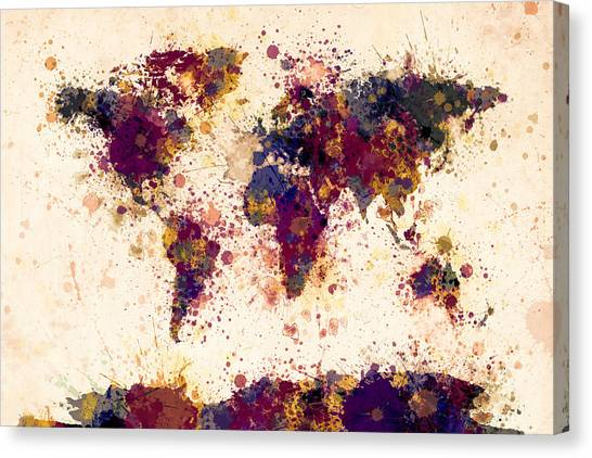 Colourfull Canvas Print - World Map Paint Splashes by Michael Tompsett