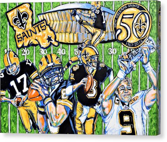 Drew Brees Canvas Print - 50 Years Of Saints by Tami Curtis