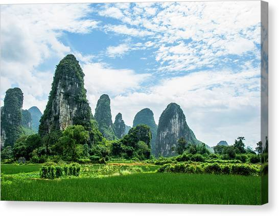 Karst Mountains And  Rural Scenery Canvas Print