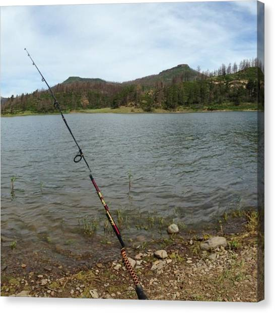Fishing Poles Canvas Print - Mountain Lake by Britni Riso