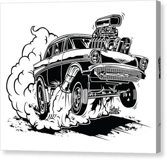 Canvas Print - '57 Gasser Cartoon by Matt Dyck