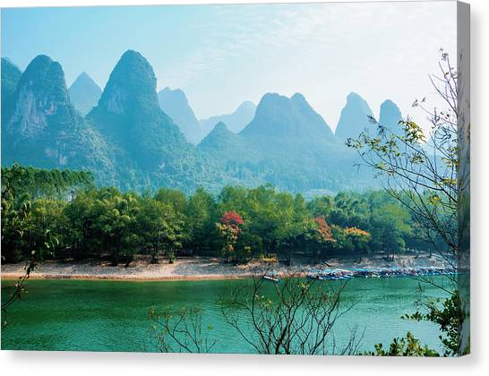 Lijiang River And Karst Mountains Scenery Canvas Print