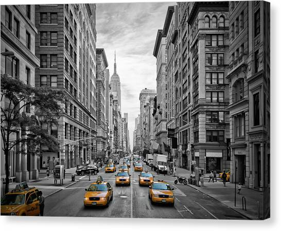 Traffic Canvas Print - 5th Avenue Nyc Traffic by Melanie Viola