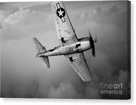 Head And Shoulders Canvas Print - A Grumman F6f Hellcat Fighter Plane by Scott Germain