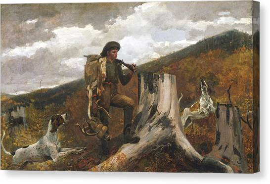 Winslow Canvas Print - A Huntsman And Dogs by Winslow Homer