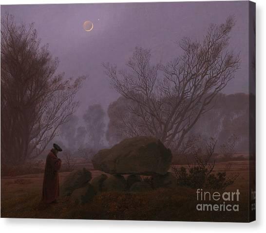 Rebirth Canvas Print - A Walk At Dusk by Caspar David Friedrich