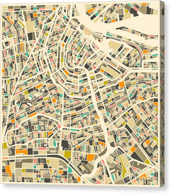 Map Canvas Print - Amsterdam Map by Jazzberry Blue