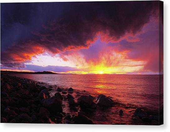 Canvas Print featuring the photograph Antelope Island Sunset by Norman Hall