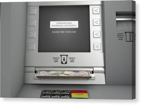 Keypad Canvas Print - Atm Cardless Cash Withdrawal by Allan Swart