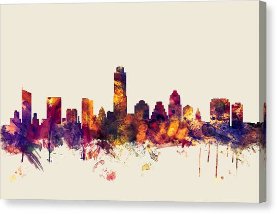 Austin Skyline Canvas Print - Austin Texas Skyline by Michael Tompsett