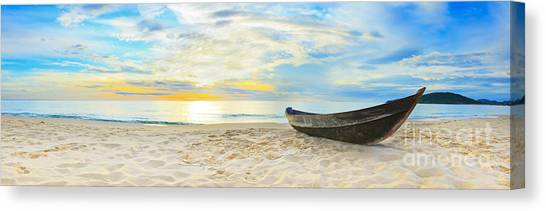 Beach Sunsets Canvas Print - Beach Panorama by MotHaiBaPhoto Prints