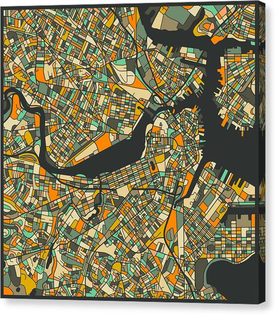 Boston Canvas Print - Boston Map by Jazzberry Blue