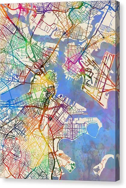 Boston Canvas Print - Boston Massachusetts Street Map by Michael Tompsett