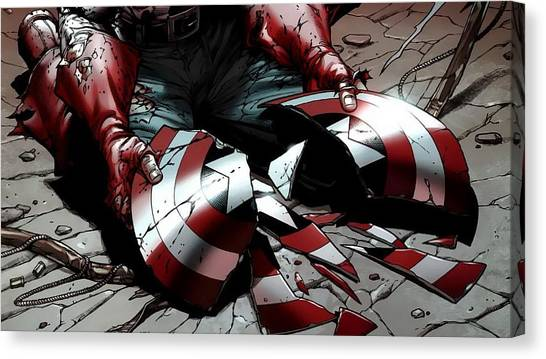 Football Teams Canvas Print - Captain America by Super Lovely