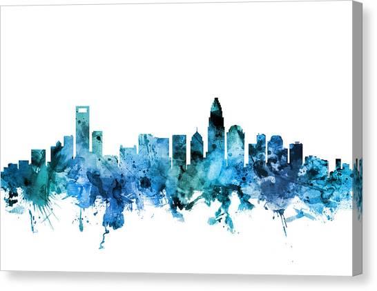 North Carolina Canvas Print - Charlotte North Carolina Skyline by Michael Tompsett