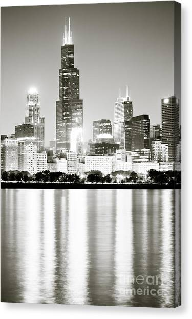Lake Michigan Canvas Print - Chicago Skyline At Night by Paul Velgos