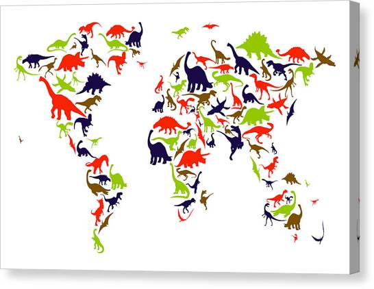 Tyrannosaurus Canvas Print - Dinosaur Map Of The World Map by Michael Tompsett