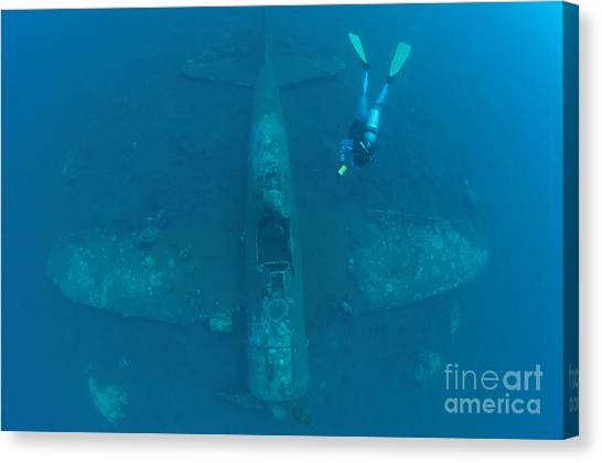 Kimbe Bay Canvas Print - Diver Explores The Wreck by Steve Jones