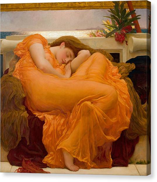 Pre-raphaelite Art Canvas Print - Flaming June by Frederic Leighton