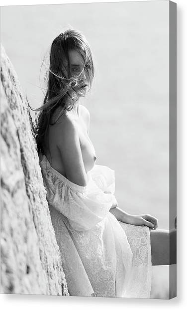 Girl In White Dress Canvas Print