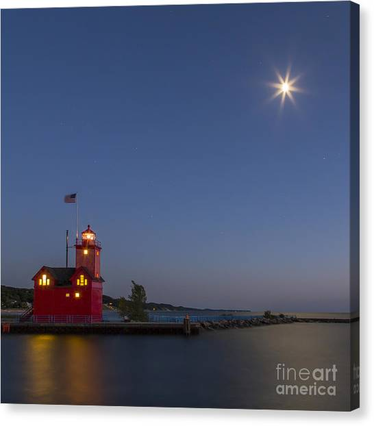 Big Red Canvas Print - Holland Lighthouse And Channel by Twenty Two North Photography