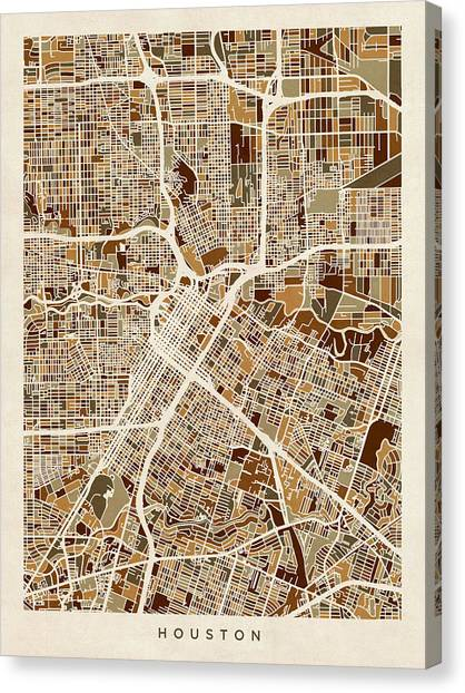 Houston Canvas Print - Houston Texas City Street Map by Michael Tompsett