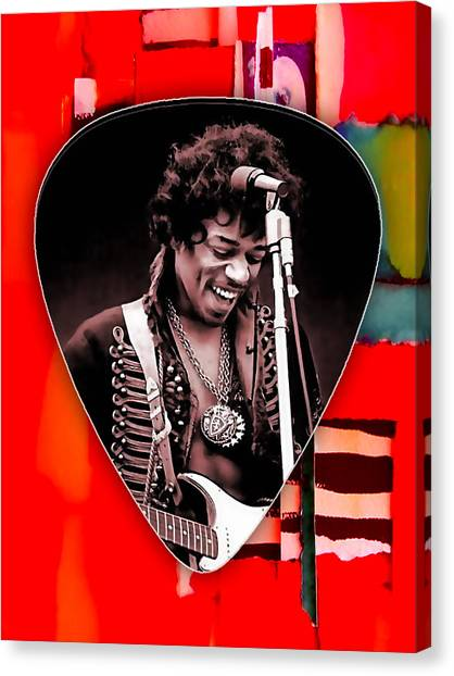 Guitar Picks Canvas Print - Jimi Hendrix Guitar Pick Collection by Marvin Blaine