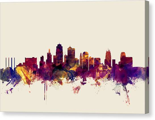 Kansas Canvas Print - Kansas City Skyline by Michael Tompsett
