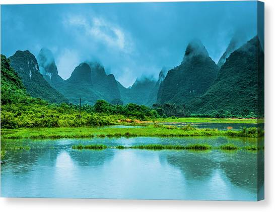 Karst Rural Scenery In Raining Canvas Print
