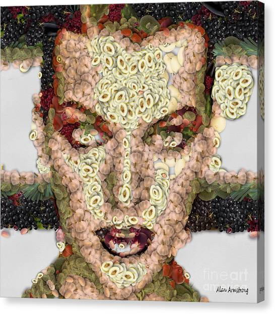 Resident Evil Canvas Print - 6 Milla Jovovich Fruit And Vegetable Portrait by Alan Armstrong