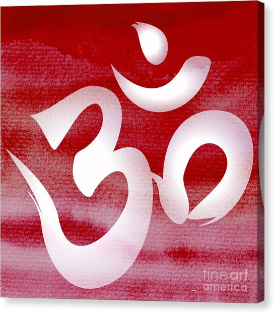 Om Symbol. Red And White Canvas Print