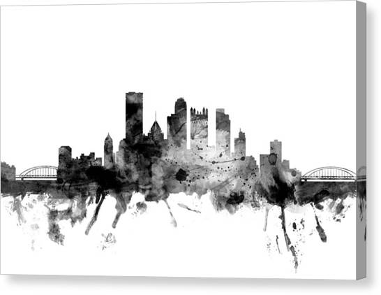 Pittsburgh Canvas Print - Pittsburgh Pennsylvania Skyline by Michael Tompsett