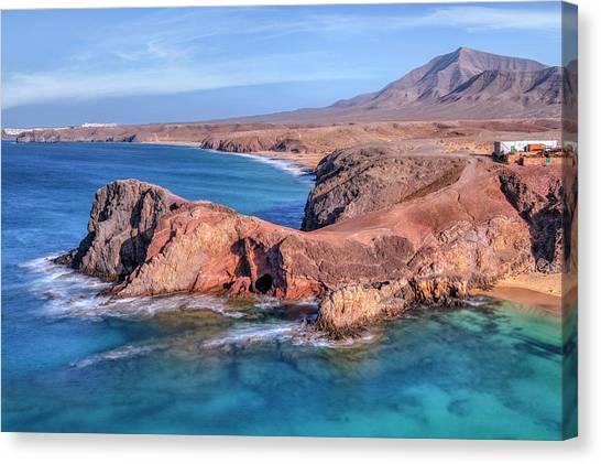 Beach Cliffs Canvas Print - Playa Papagayo - Lanzarote by Joana Kruse